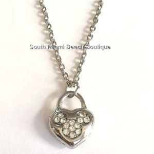 Silver Mickey Mouse Ears Necklace Crystal Disney